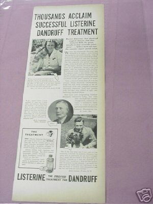 1939 Ad Listerine Dandruff Treatment