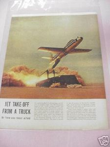 1955 Magazine Article F-84 Thunderjet Takes Off from Truck