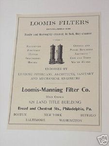 1906 Ad Loomis-Manning Filter Co. Loomis Filters