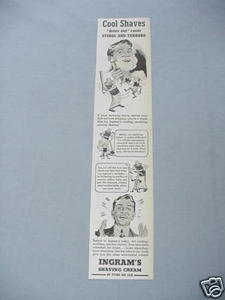 1940 Ad Ingram's Shaving Cream Cool Shaves