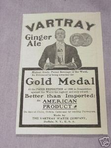 1901 Vartray Ginger Ale Ad Paris Exposition Gold Medal