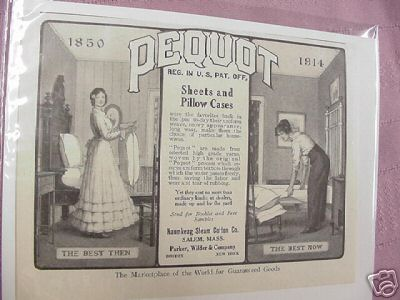 1914 Ad Pequot Sheets & Pillow Cases, Salem, Mass.
