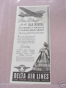 1941 Ad Delta Air Lines The Trans-Southern Route