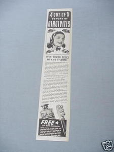 1940 Ad Forhan's Toothpaste Beware of Gingivitis