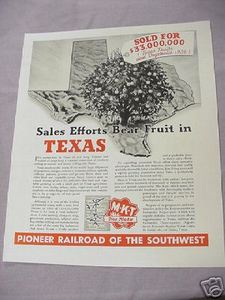 1937 MKT The Katy Ad Pioneer Railroad of the Southwest