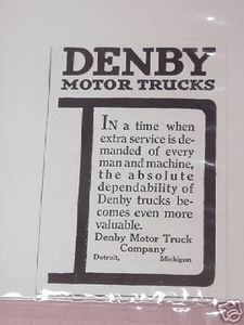 1918 Ad Denby Motor Trucks, Detroit, Michigan