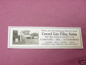 1927 Ad Concord Gate Filling Station, Concord, N. H.