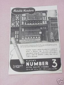 1939 Ad Player's Number 3 Virginia Cigarettes