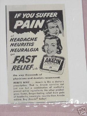 1954 Anacin Ad If You Suffer Pain Get Fast Relief