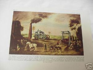 1947 Color Illustrated Page Coal Mine in the Midlands 1790's