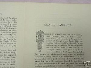 1893 5 Page Biography of George Bancroft, Author