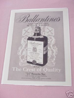 1950 Ballantine's Scotch Whisky Ad The Crest of Quality