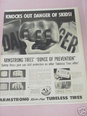 1955 Armstrong Rhino-Flex Tubeless Tires Ad