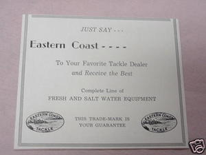 1938 Fishing Manufacturer Ad Eastern Coast Tackle