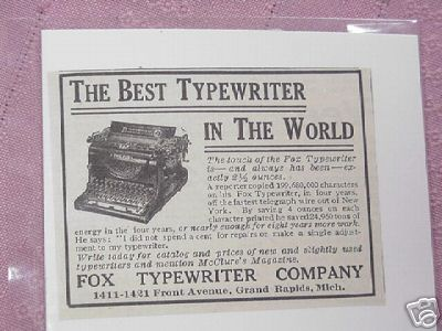 1914 Fox Typewriter Company, Grand Rapids, Mich.