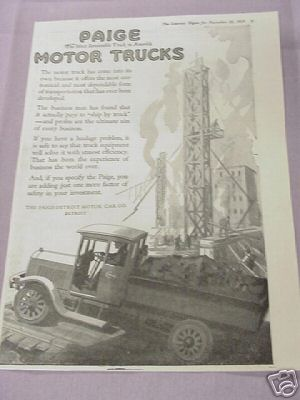 1919 Ad Paige Detroit Motor Car Co. Paige Motor Trucks