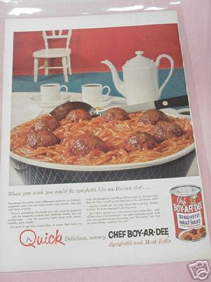 1955 Chef Boy-Ar-Dee Spaghetti and Meat Balls Color Ad