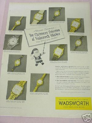 1953 Wadsworth Watches Ad Product of Elgin Watches