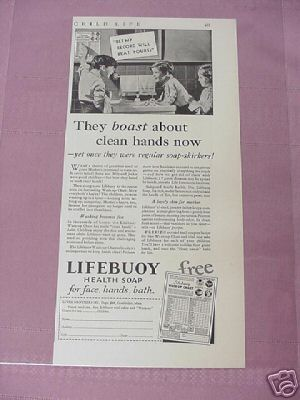 1932 Lifebuoy Health Soap Ad Featuring Wash-Up Chart