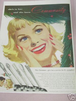 1953 Oneida Community Silverplate Color Ad 5 Patterns
