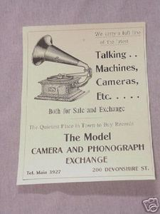 1906 Ad Model Camera and Phonograph Exchange Boston