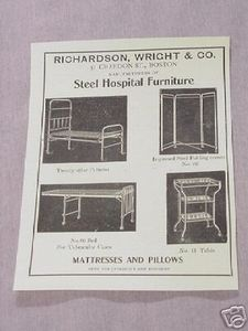 1906 Ad Richardson Wright Co Steel Hospital Furniture