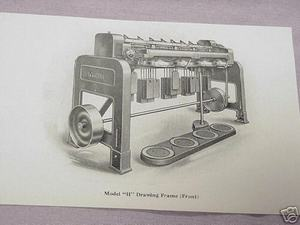 1925 Illustrated Page Whitin Model H Drawing Frame