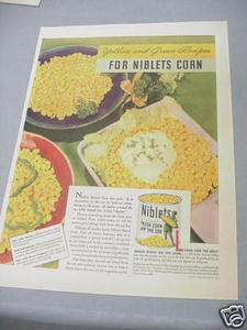 1940 Ad Niblets Corn Off the Cob Jolly Green Giant
