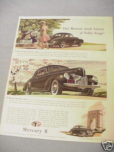1940 Ad Mercury 8 Made History At Valley Forge