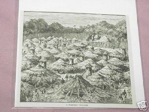 1889 Africa Illustrated Page A Wahuma Village