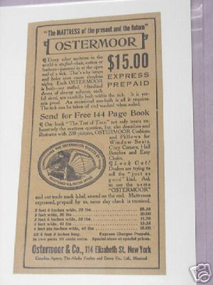 1913 Ostermoor Mattress Ad Ostermoor & Co., New York