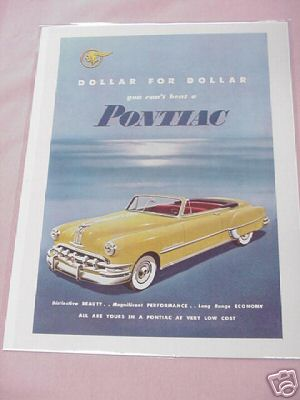 1950 Pontiac Automobile Ad Dollar For Dollar