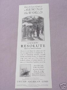 1925 Ad United American Lines Resolute Steamship Ad