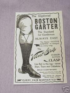 1901 Boston Garter Ad The Standard For Gentlemen