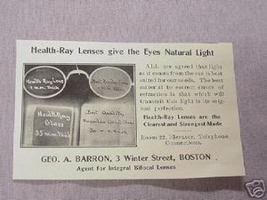 1906 Ad Health-Ray Lenses Geo. A. Barron, Boston, Mass