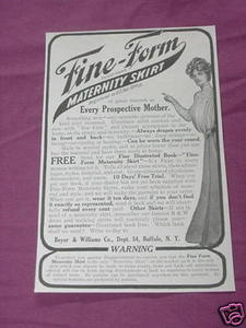 1909 Ad Fine-Form Maternity Skirt, Beyer & Williams Co.