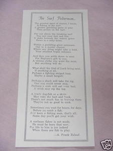 1938 One Page Poem The Surf Fisherman by A. Frank Zulauf