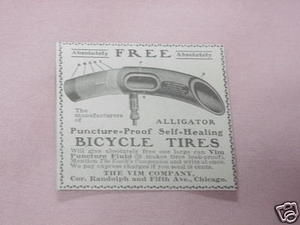 1902 Bicycle Tires Ad The Vim Company, Chicago