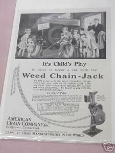 1918 Ad American Chain Co., Bridgeport, Ct. Weed Chain Jack