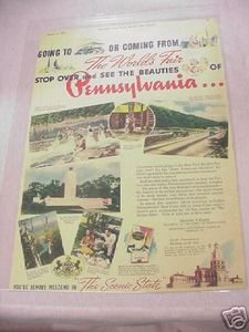 1939 Ad New York World's Fair Pennsylvania Pavillion & Pennsylvania