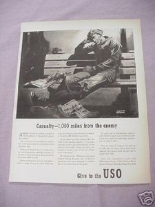 1942 Give to the USO World War II Ad WWII