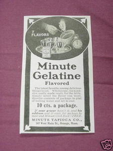 1909 Ad Minute Gelatine, Minute Tapioca Co Orange, Mass