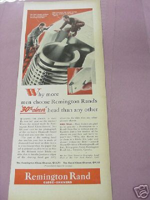 1939 World's Fair Giant Remington Rand Shaver Ad