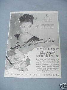 1940 Kneelast Vanity Fair Stockings with Ann Sheridan