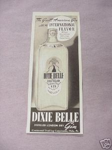 1942 Ad Dixie Belle Distilled London Dry Gin