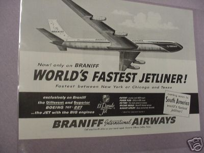 Braniff Airlines 1960 Ad With Boeing 707 Jetliner
