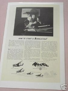 1943 World War II Martin Aircraft Ad WWII