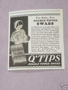 1931 Q-Tips Ad For Baby, Too Double-Tipped Swabs