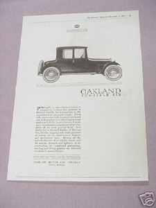1919 Oakland Sensible Six Automobile Ad Oakland Motor Car Company
