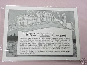 1918 Ad American Bankers Association Cheques WWI